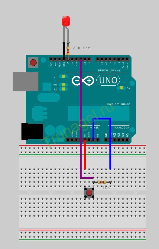 Схема подключения светодиода и кнопки к Arduino