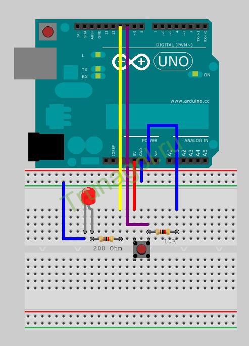 Схема подключения светодиода и кнопки к Arduino c PWM